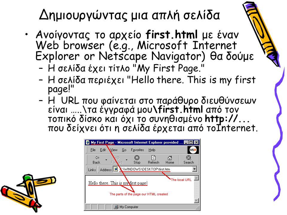 Ανοίγοντας το αρχείο first.html με έναν Web browser (e.g., Microsoft Internet Explorer or Netscape Navigator) θα δούμε –Η σελίδα έχει τίτλο My First Page. –Η σελίδα περιέχει Hello there.