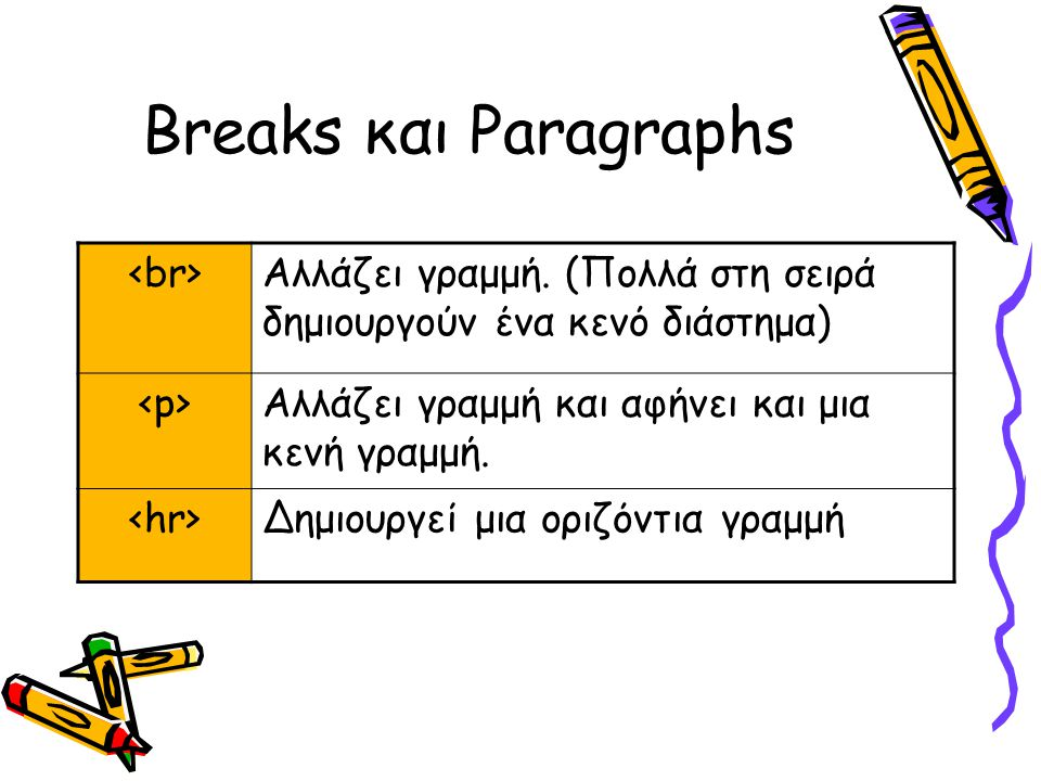 Breaks και Paragraphs Αλλάζει γραμμή.