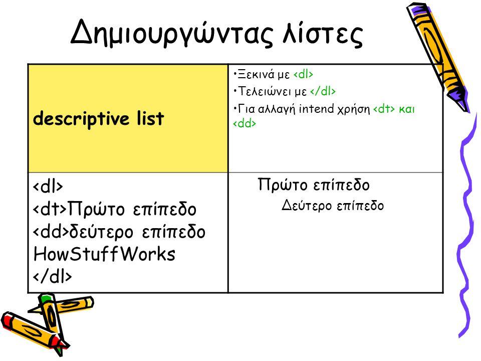 Δημιουργώντας λίστες descriptive list Ξεκινά με Τελειώνει με Για αλλαγή intend χρήση και Πρώτο επίπεδο δεύτερο επίπεδο HowStuffWorks Πρώτο επίπεδο Δεύτερο επίπεδο