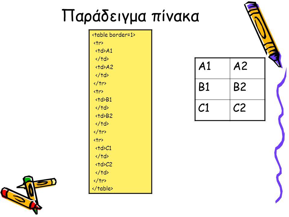 Παράδειγμα πίνακα A1 A2 B1 B2 C1 C2 Α1Α2 Β1Β2 C1C2