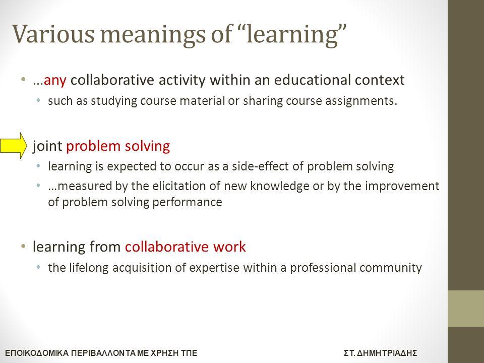 """ΕΠΟΙΚΟΔΟΜΙΚΑ ΠΕΡΙΒΑΛΛΟΝΤΑ ΜΕ ΧΡΗΣΗ ΤΠΕΣΤ. ΔΗΜΗΤΡΙΑΔΗΣ Various meanings of """"learning"""" …any collaborative activity within an educational context such as"""