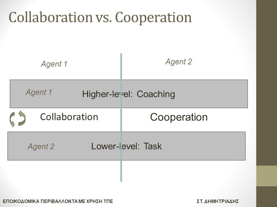 ΕΠΟΙΚΟΔΟΜΙΚΑ ΠΕΡΙΒΑΛΛΟΝΤΑ ΜΕ ΧΡΗΣΗ ΤΠΕΣΤ. ΔΗΜΗΤΡΙΑΔΗΣ Collaboration vs. Cooperation Collaboration Higher-level: Coaching Lower-level: Task Agent 1 Age