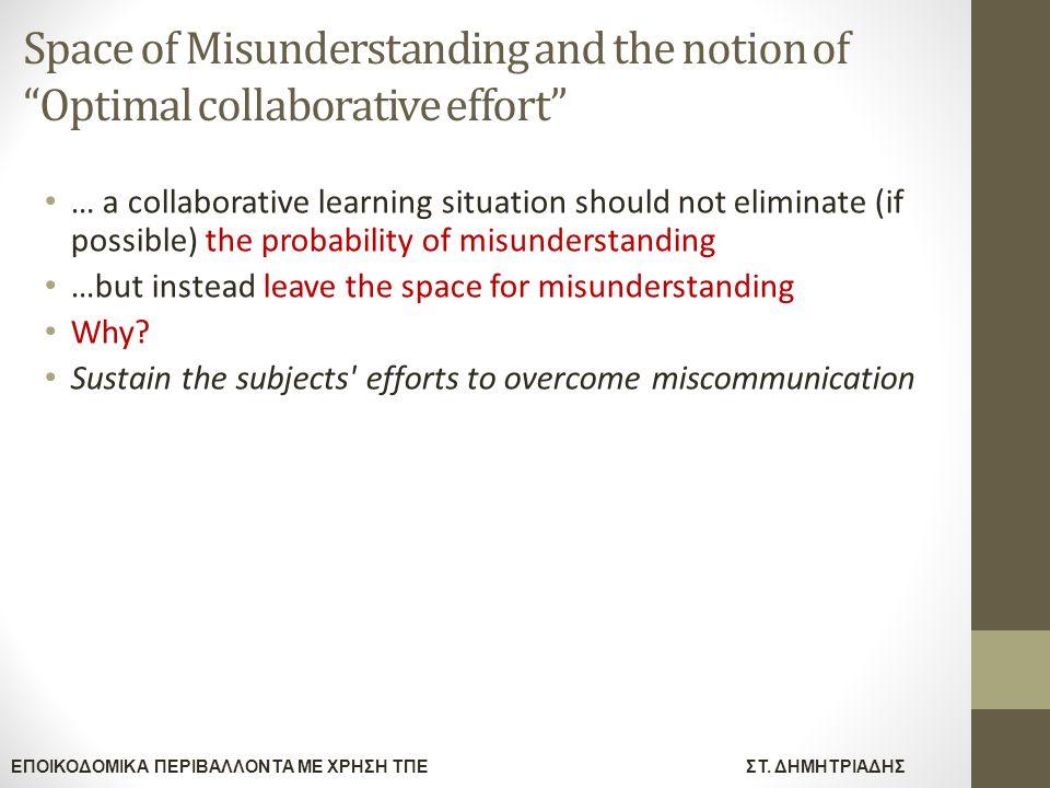 """ΕΠΟΙΚΟΔΟΜΙΚΑ ΠΕΡΙΒΑΛΛΟΝΤΑ ΜΕ ΧΡΗΣΗ ΤΠΕΣΤ. ΔΗΜΗΤΡΙΑΔΗΣ Space of Misunderstanding and the notion of """"Optimal collaborative effort"""" … a collaborative lea"""