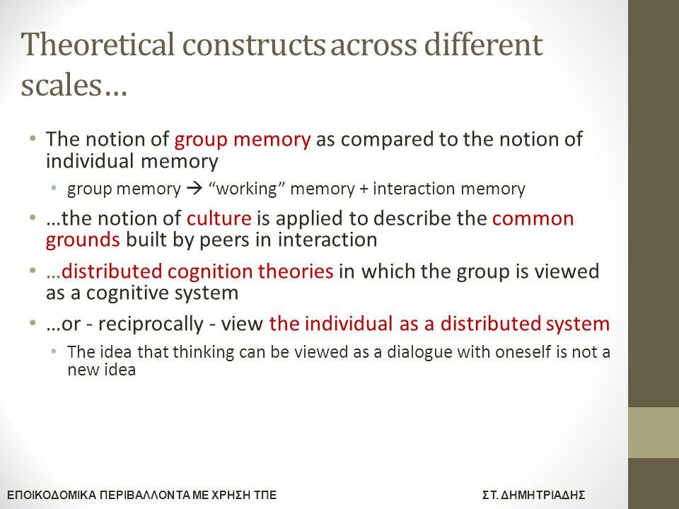 ΕΠΟΙΚΟΔΟΜΙΚΑ ΠΕΡΙΒΑΛΛΟΝΤΑ ΜΕ ΧΡΗΣΗ ΤΠΕΣΤ. ΔΗΜΗΤΡΙΑΔΗΣ Theoretical constructs across different scales… The notion of group memory as compared to the no