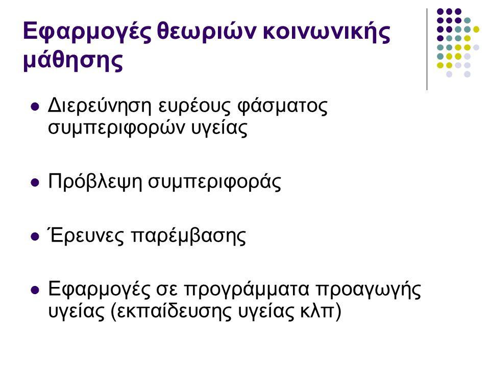 Εφαρμογές θεωριών κοινωνικής μάθησης Διερεύνηση ευρέους φάσματος συμπεριφορών υγείας Πρόβλεψη συμπεριφοράς Έρευνες παρέμβασης Εφαρμογές σε προγράμματα