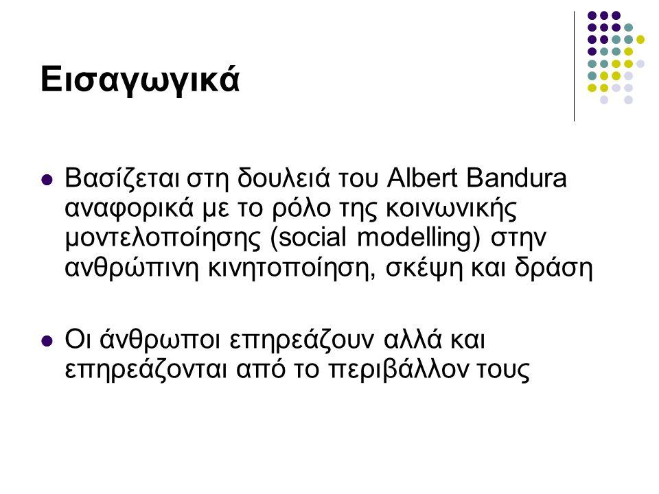 Εισαγωγικά Βασίζεται στη δουλειά του Albert Bandura αναφορικά με το ρόλο της κοινωνικής μοντελοποίησης (social modelling) στην ανθρώπινη κινητοποίηση,