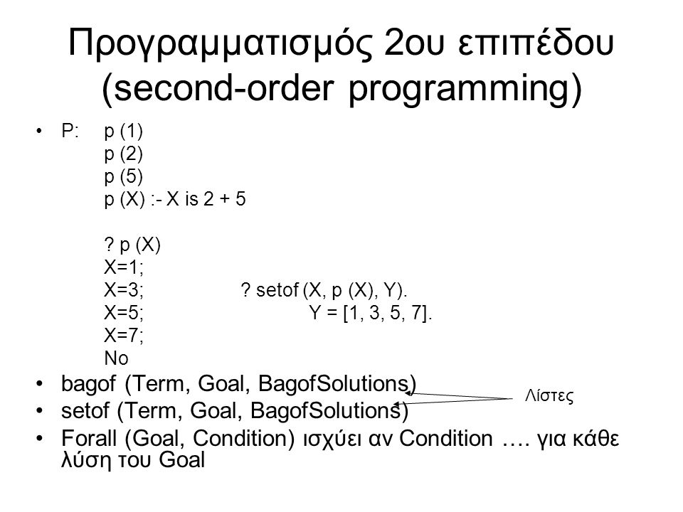 Προγραμματισμός 2ου επιπέδου (second-order programming) P:p (1) p (2) p (5) p (X) :- X is 2 + 5 ? p (X) X=1; X=3;? setof (X, p (X), Y). X=5;Y = [1, 3,