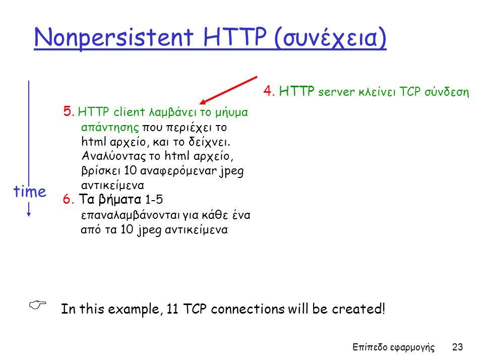 Επίπεδο εφαρμογής 23 Nonpersistent HTTP (συνέχεια) 5.