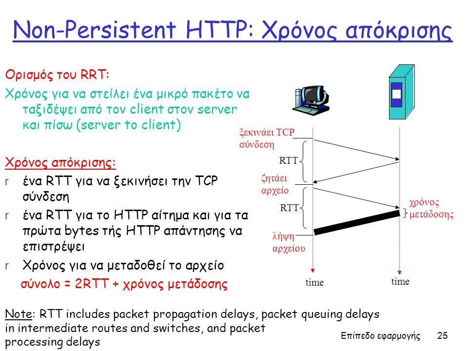 Επίπεδο εφαρμογής 25 Non-Persistent HTTP: Χρόνος απόκρισης Ορισμός του RRT: Χρόνος για να στείλει ένα μικρό πακέτο να ταξιδέψει από τον client στον server και πίσω (server to client) Χρόνος απόκρισης: r ένα RTT για να ξεκινήσει την TCP σύνδεση r ένα RTT για το HTTP αίτημα και για τα πρώτα bytes τής HTTP απάντησης να επιστρέψει r Χρόνος για να μεταδοθεί το αρχείο σύνολο = 2RTT + χρόνος μετάδοσης χρόνος μετάδοσης ξεκινάει TCP σύνδεση RTT ζητάει αρχείο RTT λήψη αρχείου time Note: RTT includes packet propagation delays, packet queuing delays in intermediate routes and switches, and packet processing delays