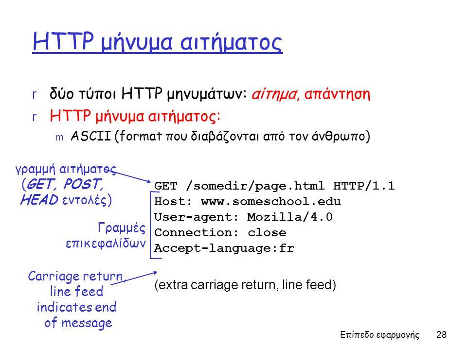 Επίπεδο εφαρμογής 28 HTTP μήνυμα αιτήματος r δύο τύποι ΗTTP μηνυμάτων: αίτημα, απάντηση r HTTP μήνυμα αιτήματος: m ASCII (format που διαβάζονται από τον άνθρωπο) GET /somedir/page.html HTTP/1.1 Host: www.someschool.edu User-agent: Mozilla/4.0 Connection: close Accept-language:fr (extra carriage return, line feed) γραμμή αιτήματος (GET, POST, HEAD εντολές) Γραμμές επικεφαλίδων Carriage return, line feed indicates end of message