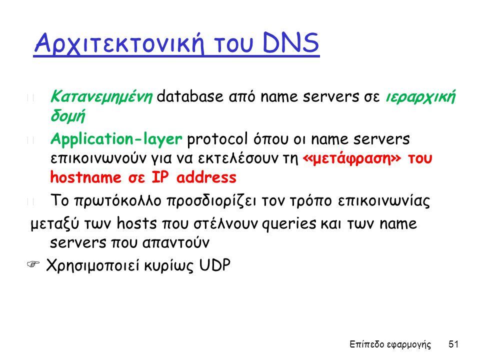 Αρχιτεκτονική του DNS Επίπεδο εφαρμογής 51 m Κατανεμημένη database από name servers σε ιεραρχική δομή m Application-layer protocol όπου οι name servers επικοινωνούν για να εκτελέσουν τη «μετάφραση» του hostname σε IP address m Το πρωτόκολλο προσδιορίζει τον τρόπο επικοινωνίας μεταξύ των hosts που στέλνουν queries και των name servers που απαντούν  Χρησιμοποιεί κυρίως UDP
