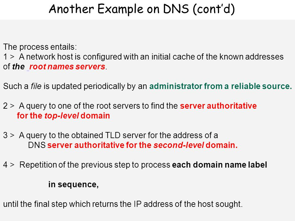 Επίπεδο εφαρμογής 60 The process entails: 1 > A network host is configured with an initial cache of the known addresses of the root names servers.