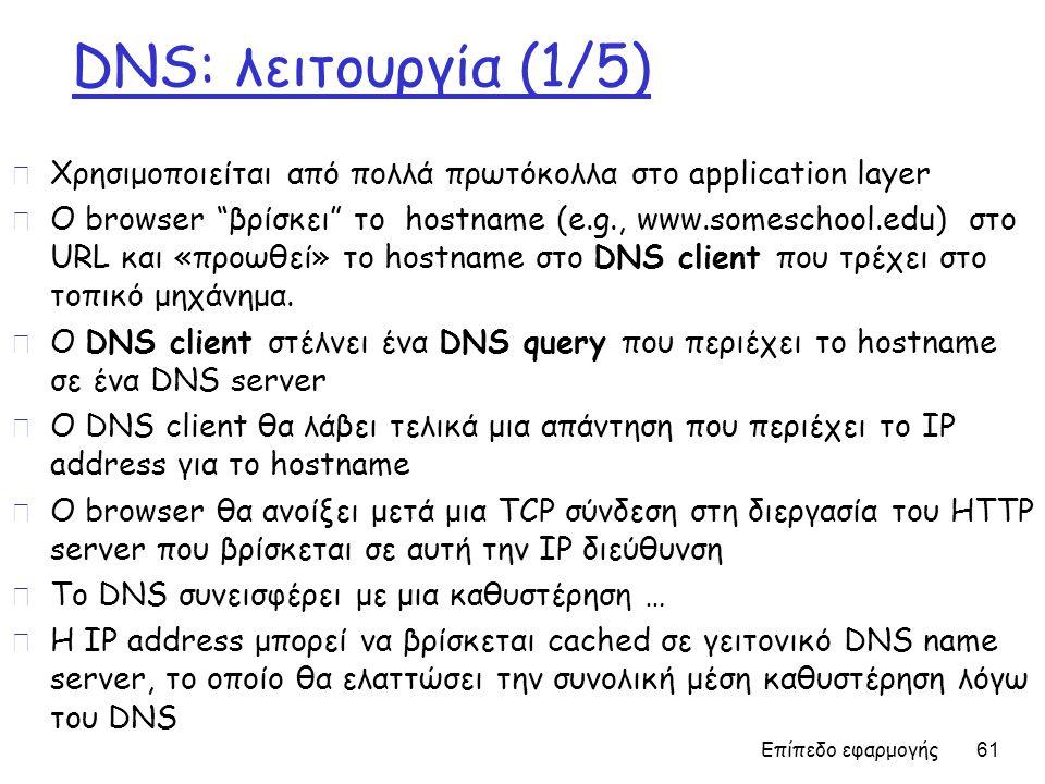 DNS: λειτουργία (1/5) r Χρησιμοποιείται από πολλά πρωτόκολλα στο application layer r O browser βρίσκει το hostname (e.g., www.someschool.edu) στο URL και «προωθεί» το hostname στο DNS client που τρέχει στο τοπικό μηχάνημα.