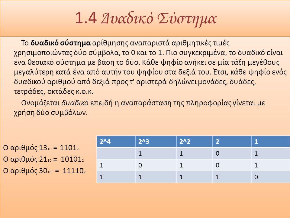 1.4 Δυαδικό Σύστημα Το δυαδικό σύστημα αρίθμησης αναπαριστά αριθμητικές τιμές χρησιμοποιώντας δύο σύμβολα, το 0 και το 1.