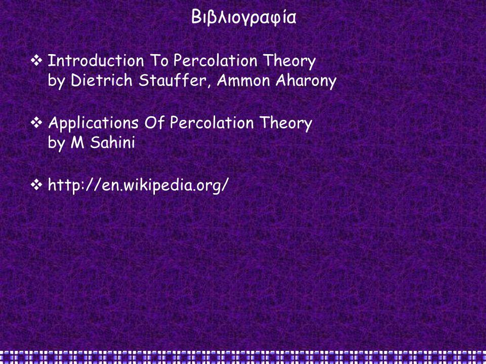 Βιβλιογραφία  Introduction To Percolation Theory by Dietrich Stauffer, Ammon Aharony  Applications Of Percolation Theory by M Sahini  http://en.wik