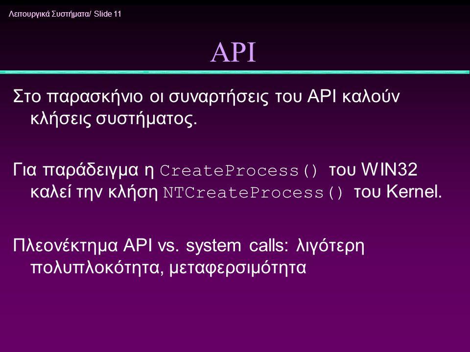 Λειτουργικά Συστήματα/ Slide 11 API Στο παρασκήνιο οι συναρτήσεις του API καλούν κλήσεις συστήματος. Για παράδειγμα η CreateProcess() του WIN32 καλεί
