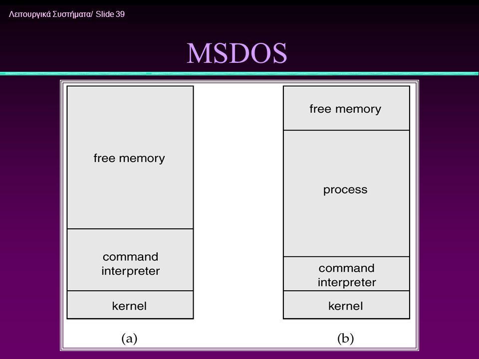 Λειτουργικά Συστήματα/ Slide 39 MSDOS