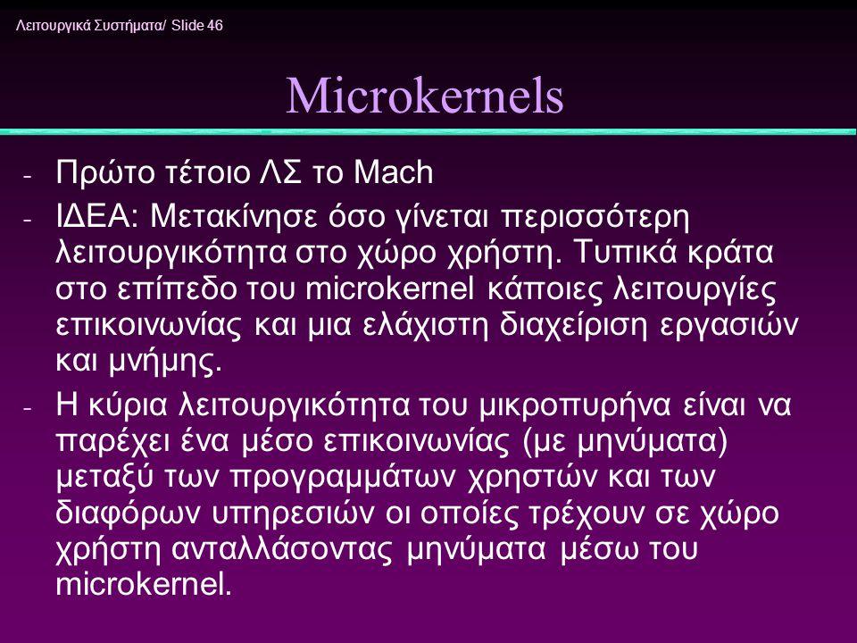 Λειτουργικά Συστήματα/ Slide 46 Microkernels - Πρώτο τέτοιο ΛΣ το Mach - ΙΔΕΑ: Μετακίνησε όσο γίνεται περισσότερη λειτουργικότητα στο χώρο χρήστη. Τυπ