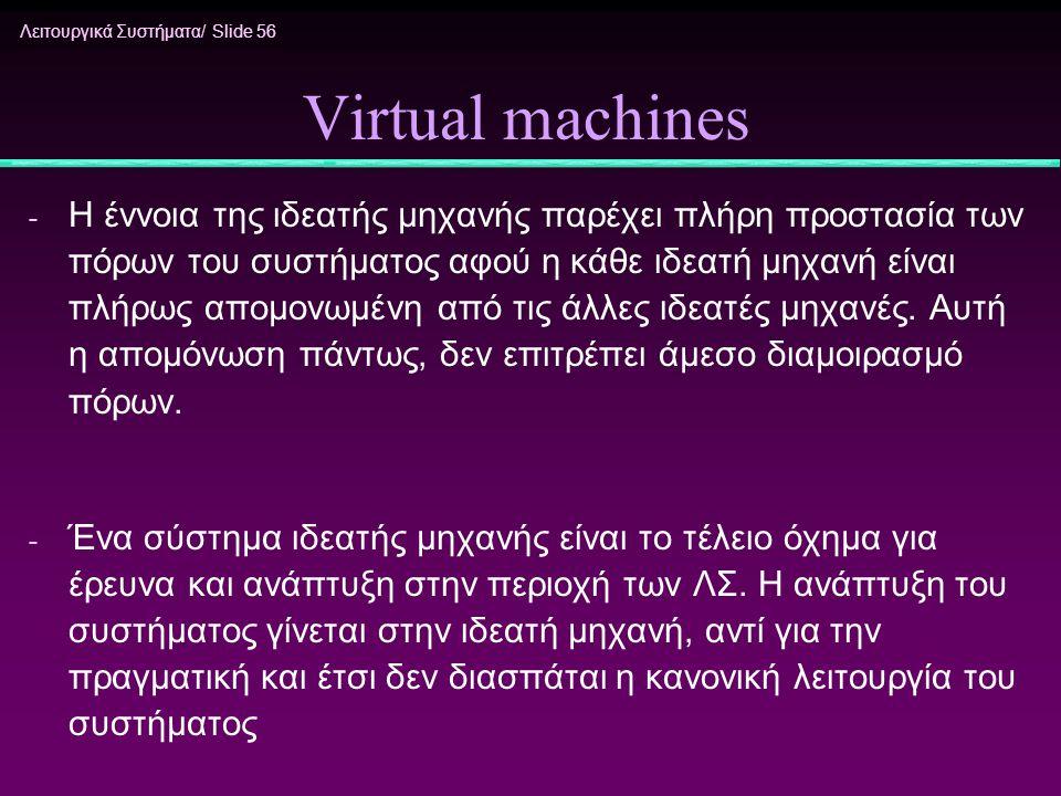 Λειτουργικά Συστήματα/ Slide 56 Virtual machines - Η έννοια της ιδεατής μηχανής παρέχει πλήρη προστασία των πόρων του συστήματος αφού η κάθε ιδεατή μη