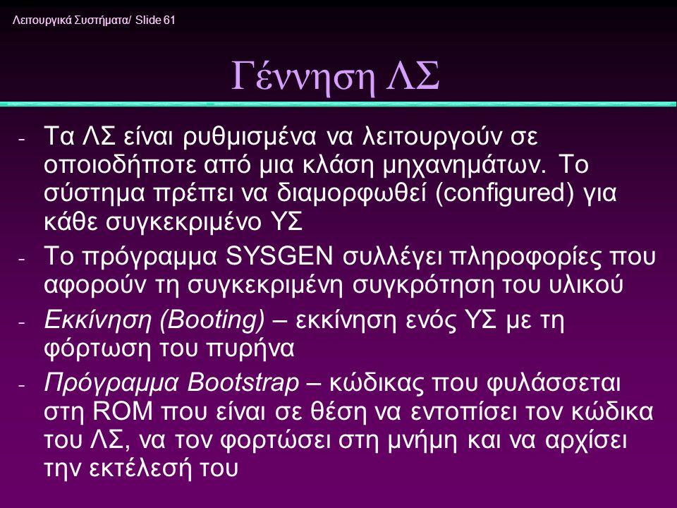 Λειτουργικά Συστήματα/ Slide 61 Γέννηση ΛΣ - Τα ΛΣ είναι ρυθμισμένα να λειτουργούν σε οποιοδήποτε από μια κλάση μηχανημάτων. Το σύστημα πρέπει να διαμ
