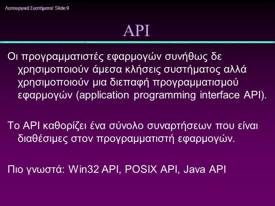 Λειτουργικά Συστήματα/ Slide 9 API Οι προγραμματιστές εφαρμογών συνήθως δε χρησιμοποιούν άμεσα κλήσεις συστήματος αλλά χρησιμοποιούν μια διεπαφή προγρ