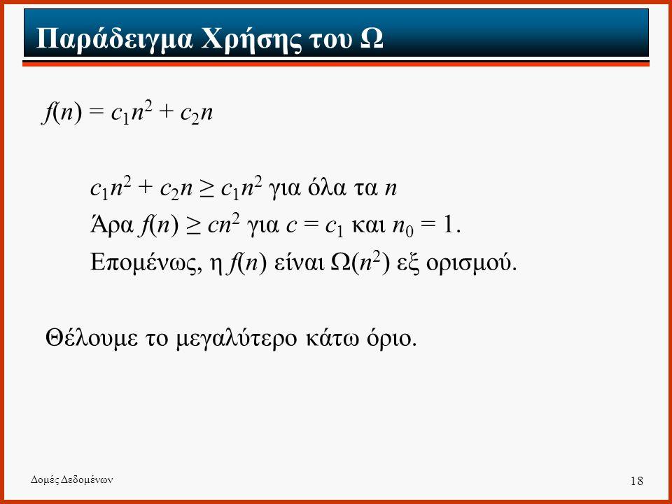 Δομές Δεδομένων 18 Παράδειγμα Χρήσης του Ω f(n) = c 1 n 2 + c 2 n c 1 n 2 + c 2 n ≥ c 1 n 2 για όλα τα n Άρα f(n) ≥ cn 2 για c = c 1 και n 0 = 1.