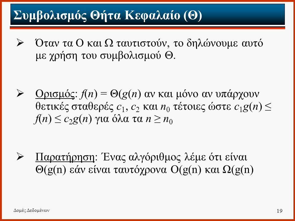 Δομές Δεδομένων 19 Συμβολισμός Θήτα Κεφαλαίο (Θ)  Όταν τα Ο και  ταυτιστούν, το δηλώνουμε αυτό με χρήση του συμβολισμού .