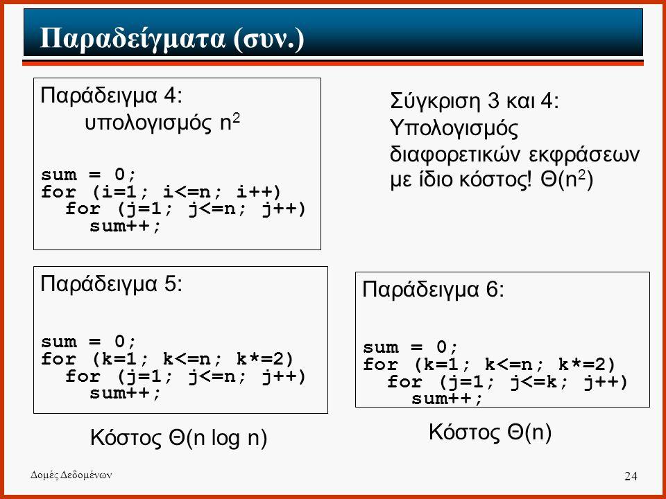 Δομές Δεδομένων 24 Σύγκριση 3 και 4: Υπολογισμός διαφορετικών εκφράσεων με ίδιο κόστος.