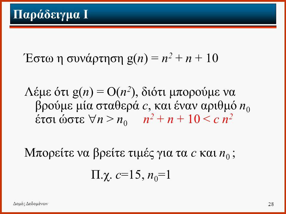 Δομές Δεδομένων 28 Παράδειγμα I Έστω η συνάρτηση g(n) = n 2 + n + 10 Λέμε ότι g(n) = O(n 2 ), διότι μπορούμε να βρούμε μία σταθερά c, και έναν αριθμό n 0 έτσι ώστε  n > n 0 n 2 + n + 10 < c n 2 Μπορείτε να βρείτε τιμές για τα c και n 0 ; Π.χ.