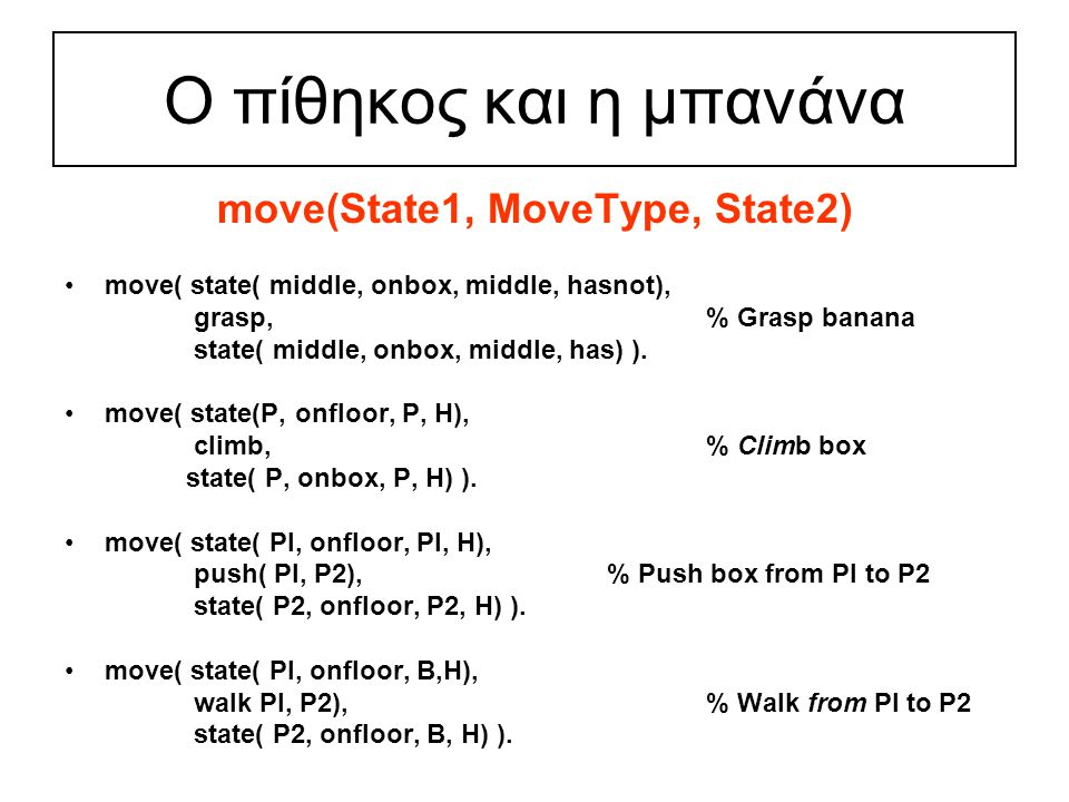 Ο πίθηκος και η μπανάνα move(State1, MoveType, State2) move( state( middle, onbox, middle, hasnot), grasp, % Grasp banana state( middle, onbox, middle, has) ).