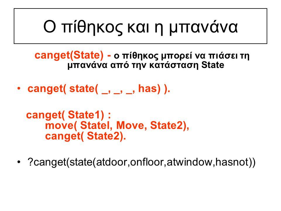 Ο πίθηκος και η μπανάνα canget(State) - ο πίθηκος μπορεί να πιάσει τη μπανάνα από την κατάσταση State canget( state( _, _, _, has) ).