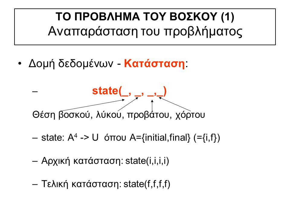 ΤO ΠΡOBΛHMA TOY BOΣΚOY (1) Αναπαράσταση του προβλήματος Δομή δεδομένων - Κατάσταση: – state(_, _, _,_) Θέση βοσκού, λύκου, προβάτου, χόρτου –state: A 4 -> U όπου A={initial,final} (={i,f}) –Αρχική κατάσταση: state(i,i,i,i) –Τελική κατάσταση: state(f,f,f,f)