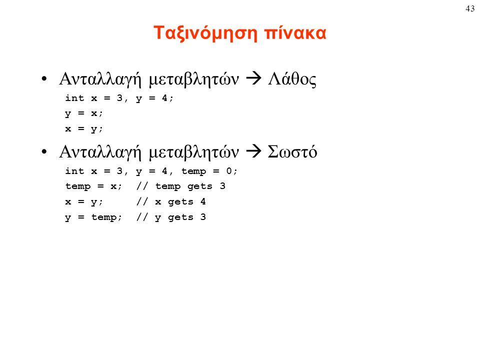43 Ταξινόμηση πίνακα Ανταλλαγή μεταβλητών  Λάθος int x = 3, y = 4; y = x; x = y; Ανταλλαγή μεταβλητών  Σωστό int x = 3, y = 4, temp = 0; temp = x; // temp gets 3 x = y; // x gets 4 y = temp; // y gets 3