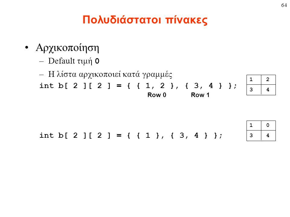 64 Πολυδιάστατοι πίνακες Αρχικοποίηση –Default τιμή 0 –Η λίστα αρχικοποιεί κατά γραμμές int b[ 2 ][ 2 ] = { { 1, 2 }, { 3, 4 } }; int b[ 2 ][ 2 ] = { { 1 }, { 3, 4 } }; 1 2 3 4 1 0 3 4 Row 0Row 1
