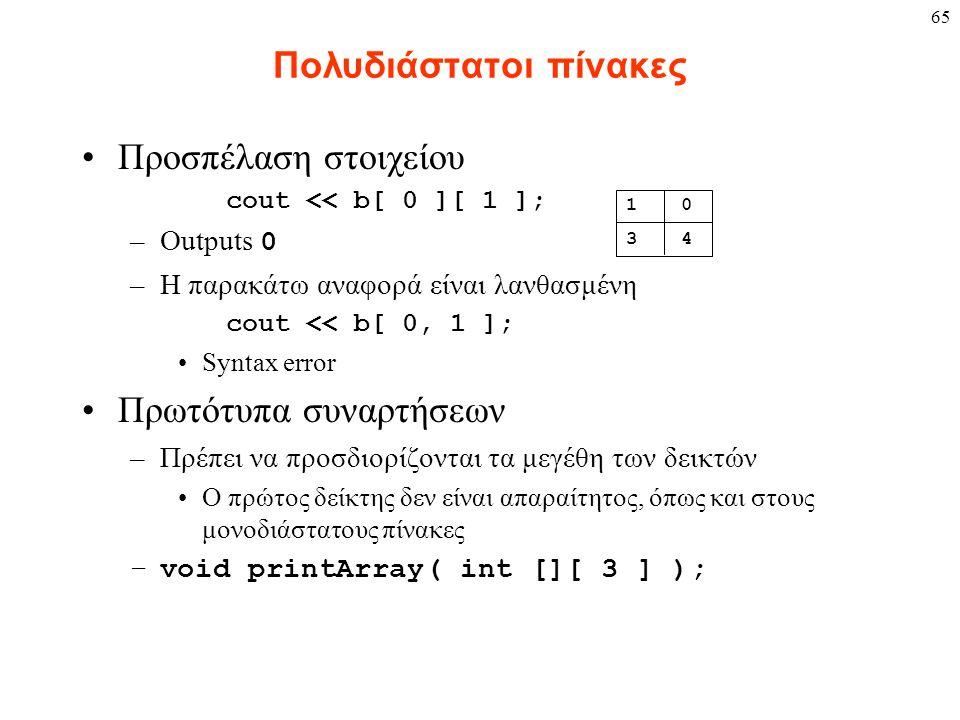 65 Πολυδιάστατοι πίνακες Προσπέλαση στοιχείου cout << b[ 0 ][ 1 ]; –Outputs 0 –Η παρακάτω αναφορά είναι λανθασμένη cout << b[ 0, 1 ]; Syntax error Πρωτότυπα συναρτήσεων –Πρέπει να προσδιορίζονται τα μεγέθη των δεικτών Ο πρώτος δείκτης δεν είναι απαραίτητος, όπως και στους μονοδιάστατους πίνακες –void printArray( int [][ 3 ] ); 1 0 3 4