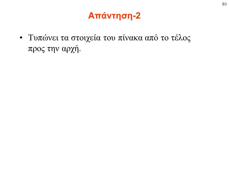 80 Απάντηση-2 Τυπώνει τα στοιχεία του πίνακα από το τέλος προς την αρχή.