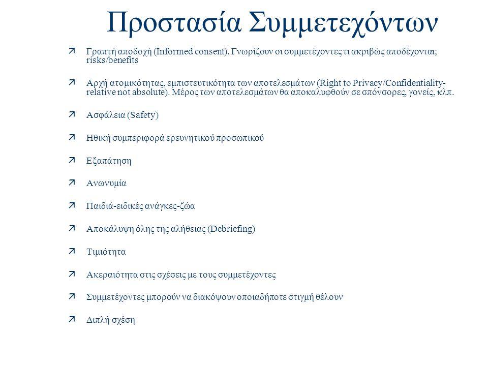 Προστασία Συμμετεχόντων äΓραπτή αποδοχή (Informed consent).