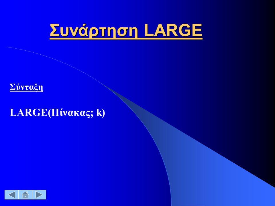 Συνάρτηση LARGE Σύνταξη LARGE(Πίνακας; k)