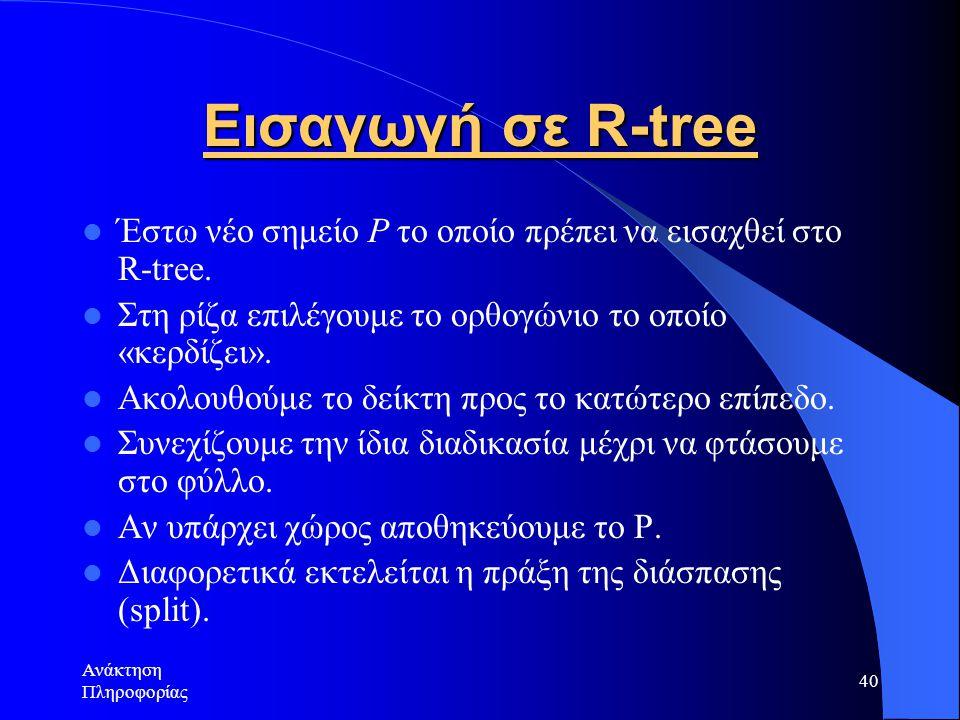 Ανάκτηση Πληροφορίας 40 Εισαγωγή σε R-tree Έστω νέο σημείο P το οποίο πρέπει να εισαχθεί στο R-tree.