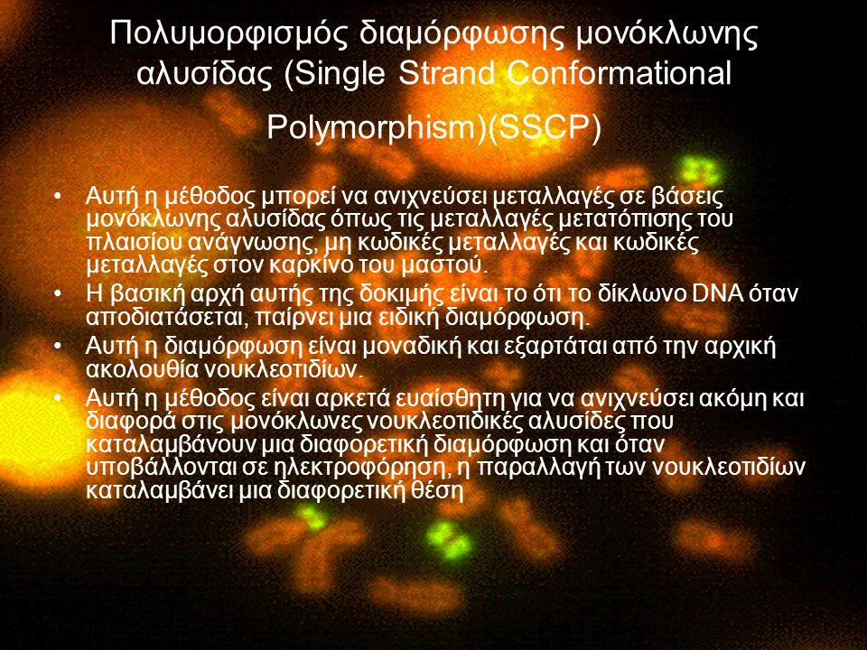 Πολυμορφισμός διαμόρφωσης μονόκλωνης αλυσίδας (Single Strand Conformational Polymorphism)(SSCP) Αυτή η μέθοδος μπορεί να ανιχνεύσει μεταλλαγές σε βάσε