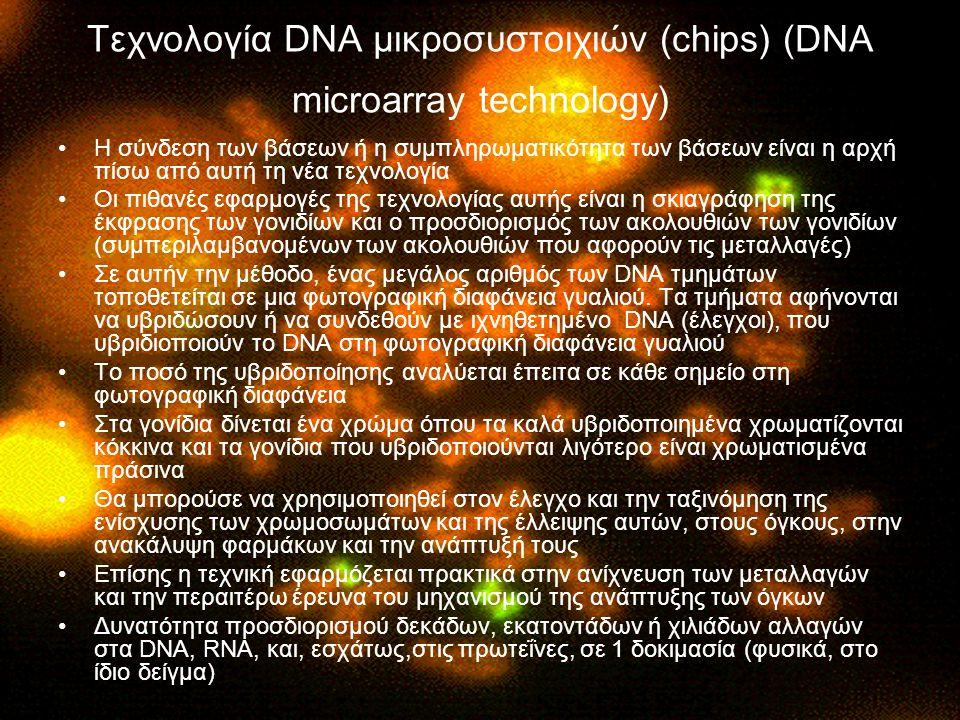 Τεχνολογία DNA μικροσυστοιχιών (chips) (DNA microarray technology) Η σύνδεση των βάσεων ή η συμπληρωματικότητα των βάσεων είναι η αρχή πίσω από αυτή τη νέα τεχνολογία Οι πιθανές εφαρμογές της τεχνολογίας αυτής είναι η σκιαγράφηση της έκφρασης των γονιδίων και ο προσδιορισμός των ακολουθιών των γονιδίων (συμπεριλαμβανομένων των ακολουθιών που αφορούν τις μεταλλαγές) Σε αυτήν την μέθοδο, ένας μεγάλος αριθμός των DNA τμημάτων τοποθετείται σε μια φωτογραφική διαφάνεια γυαλιού.