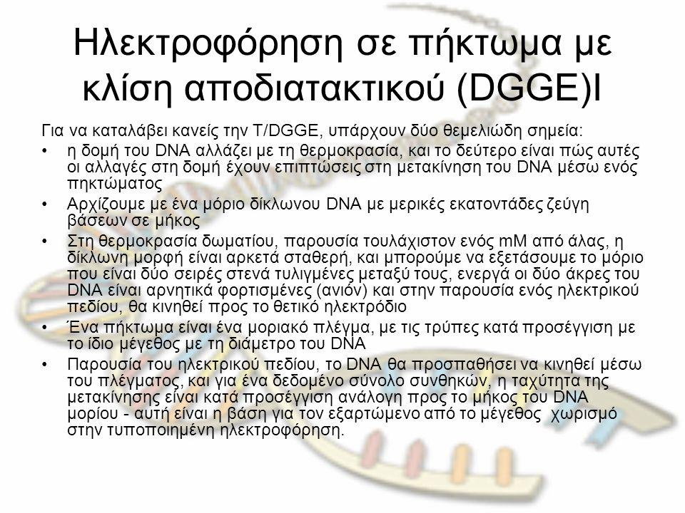 Ηλεκτροφόρηση σε πήκτωμα με κλίση αποδιατακτικού (DGGE)Ι Για να καταλάβει κανείς την T/DGGE, υπάρχουν δύο θεμελιώδη σημεία: η δομή του DNA αλλάζει με