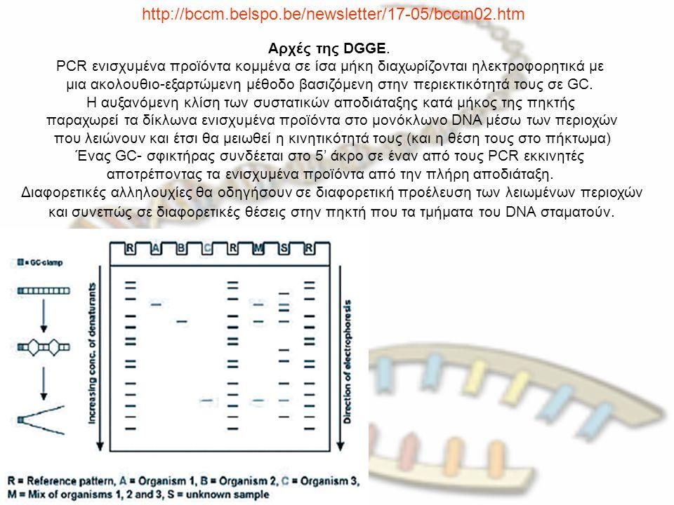 http://bccm.belspo.be/newsletter/17-05/bccm02.htm Αρχές της DGGE. PCR ενισχυμένα προϊόντα κομμένα σε ίσα μήκη διαχωρίζονται ηλεκτροφορητικά με μια ακο