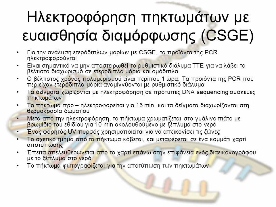 Ηλεκτροφόρηση πηκτωμάτων με ευαισθησία διαμόρφωσης (CSGE) Για την ανάλυση ετερόδιπλων μορίων με CSGE, τα προϊόντα της PCR ηλεκτροφορούνται Είναι σημαντικό να μην αποστειρωθεί το ρυθμιστικό διάλυμα TTE για να λάβει το βέλτιστο διαχωρισμό σε ετερόδιπλα μόρια και ομόδιπλα Ο βέλτιστος χρόνος πολυμερισμού είναι περίπου 1 ώρα.