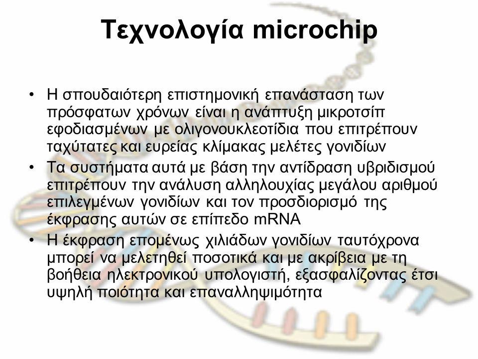 Tεχνολογία microchip H σπουδαιότερη επιστημονική επανάσταση των πρόσφατων χρόνων είναι η ανάπτυξη μικροτσίπ εφοδιασμένων με ολιγονουκλεοτίδια που επιτ