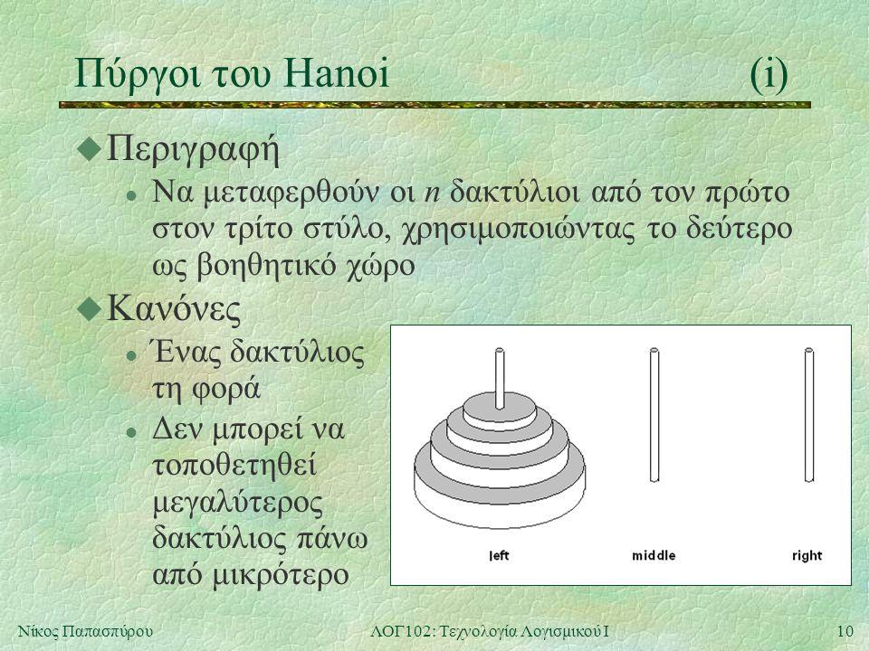 10Νίκος ΠαπασπύρουΛΟΓ102: Τεχνολογία Λογισμικού Ι Πύργοι του Hanoi(i) u Περιγραφή l Να μεταφερθούν οι n δακτύλιοι από τον πρώτο στον τρίτο στύλο, χρησιμοποιώντας το δεύτερο ως βοηθητικό χώρο u Κανόνες l Ένας δακτύλιος τη φορά l Δεν μπορεί να τοποθετηθεί μεγαλύτερος δακτύλιος πάνω από μικρότερο