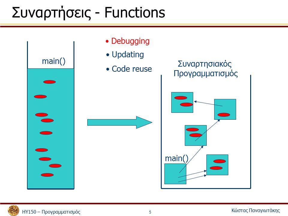 ΗΥ150 – Προγραμματισμός Κώστας Παναγιωτάκης 5 Συναρτήσεις - Functions main() Debugging Updating Code reuse Συναρτησιακός Προγραμματισμός