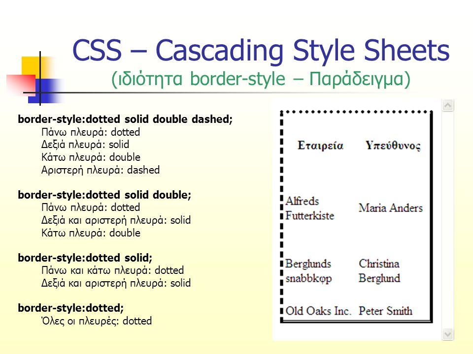 CSS – Cascading Style Sheets (ιδιότητα border-width) Καθορίζει το πάχος του περιγράμματος Τιμές: thinλεπτό περίγραμμα mediumμεσαίο περίγραμμα thickπαχύ περίγραμμα τιμή σε pixel (π.χ.