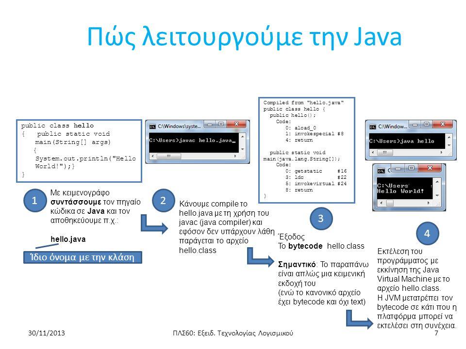 public class Hello // The Hello class { public static void main(String[] args) //The main method { System.out.println( Hello World! ); //Print Hello World! } Πρώτο Πρόγραμμα σε java main – κάθε εφαρμογή πρέπει να περιέχει μία μέθοδο main Είναι η μέθοδος που θα εκτελεστεί κατά τον χρόνο εκτέλεσης και μπορεί να καλεί τυχόν άλλες μεθόδους public – φανερώνει ότι η μέθοδος μπορεί να κληθεί από οποιοδήποτε αντικείμενο static – δηλώνει ότι πρόκειται για μέθοδο κλάσης void – η μέθοδος δεν επιστρέφει κάποια τιμή args – είναι ένας πίνακας τύπου String ο οποίος αποθηκεύει τα command line ορίσματα: Πρέπει να δηλωθεί ακόμα και αν ο χρήστης δεν επιδιώκει να δώσει κάποια command line ορίσματα Η ιδιότητα args.length αντιπροσωπεύει τον αριθμό των ορισμάτων που δόθηκαν ΠΛΣ60: Εξειδ.