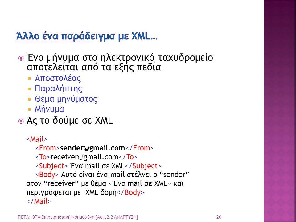  Ένα μήνυμα στο ηλεκτρονικό ταχυδρομείο αποτελείται από τα εξής πεδία  Αποστολέας  Παραλήπτης  Θέμα μηνύματος  Μήνυμα  Ας το δούμε σε XML 20 ΠΕΤΑ: ΟΤΑ Επιχειρησιακή Νοημοσύνη [Ad1.2.2 ΑΝΑΠΤΥΞΗ] sender@gmail.com receiver@gmail.com Ένα mail σε XML Αυτό είναι ένα mail στέλνει ο sender στον receiver με θέμα «Ένα mail σε XML» και περιγράφεται με XML δομή
